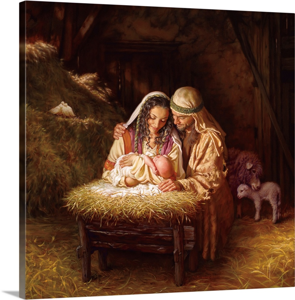 Large Solid-Faced Canvas Print Wall Art Print 20 x 20 entitled Light of Love Solid-Faced Canvas Print entitled Light of Love.  Fine art painting of Mary and Joseph holding Jesus over a manger in a barn with animals and hay.  Multiple sizes available.  Primary colors within this image include Brown, Peach, Black.  Made in USA.  All products come with a 365 day workmanship guarantee.  Archival-quality UV-resistant inks.  Canvas depth is 1.25 and includes a finished backing with pre-installed hanging hardware.  Featuring a proprietary design, our canvases produce the tightest corners without any bubbles, ripples, or bumps and will not warp or sag over time.