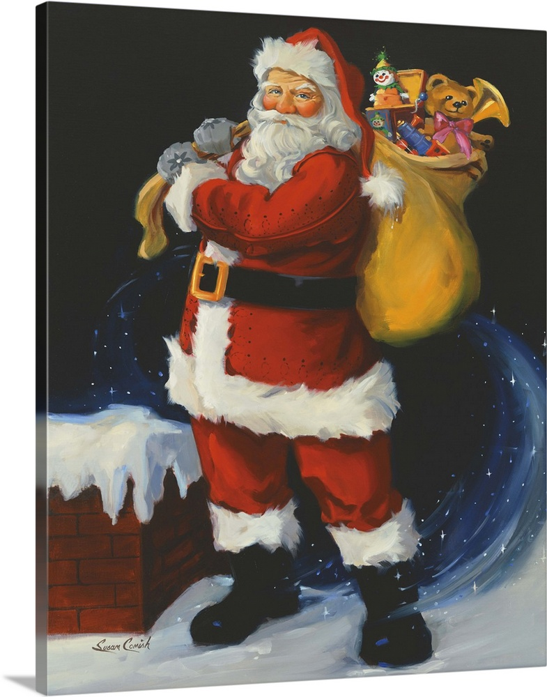 Large Solid-Faced Canvas Print Wall Art Print 24 x 30 entitled On the Rooftop Solid-Faced Canvas Print entitled On the Rooftop.  Painting of Santa Claus holding a bag of toys.  Multiple sizes available.  Primary colors within this image include Orange, Dark Red, Dark Gray, Light Gray.  Made in the USA.  All products come with a 365 day workmanship guarantee.  Inks used are latex-based and designed to last.  Canvas is handcrafted and made-to-order in the United States using high quality artist-grade canvas.  Canvas depth is 1.25 and includes a finished backing with pre-installed hanging hardware.