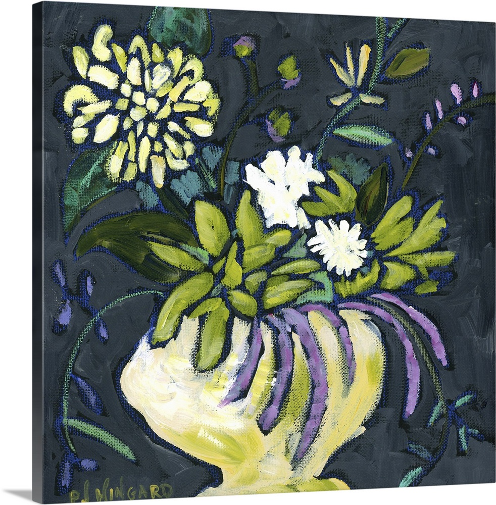 Large Solid-Faced Canvas Print Wall Art Print 20 x 20 entitled Ordinary Beauty Solid-Faced Canvas Print entitled Ordinary Beauty.  Contemporary painting of a vase holding colorful flowers.  Multiple sizes available.  Primary colors within this image include Light Yellow, White, Dark Forest Green, Dark Navy Blue.  Made in USA.  All products come with a 365 day workmanship guarantee.  Archival-quality UV-resistant inks.  Canvas is handcrafted and made-to-order in the United States using high quality artist-grade canvas.  Featuring a proprietary design, our canvases produce the tightest corners without any bubbles, ripples, or bumps and will not warp or sag over time.
