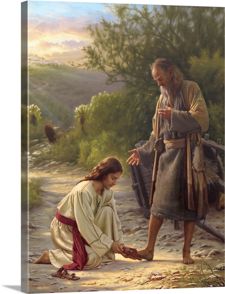 Large Solid-Faced Canvas Print Wall Art Print 30 x 40 entitled Path of Life Solid-Faced Canvas Print entitled Path of Life.  Religious art of Jesus helping  a man put on his shoes with a sunset in the background.  Multiple sizes available.  Primary colors within this image include Plum, Peach, Dark Forest Green, Pale Blue.  Made in USA.  Satisfaction guaranteed.  Archival-quality UV-resistant inks.  Archival inks prevent fading and preserve as much fine detail as possible with no over-saturation or color shifting.  Canvas is handcrafted and made-to-order in the United States using high quality artist-grade canvas.