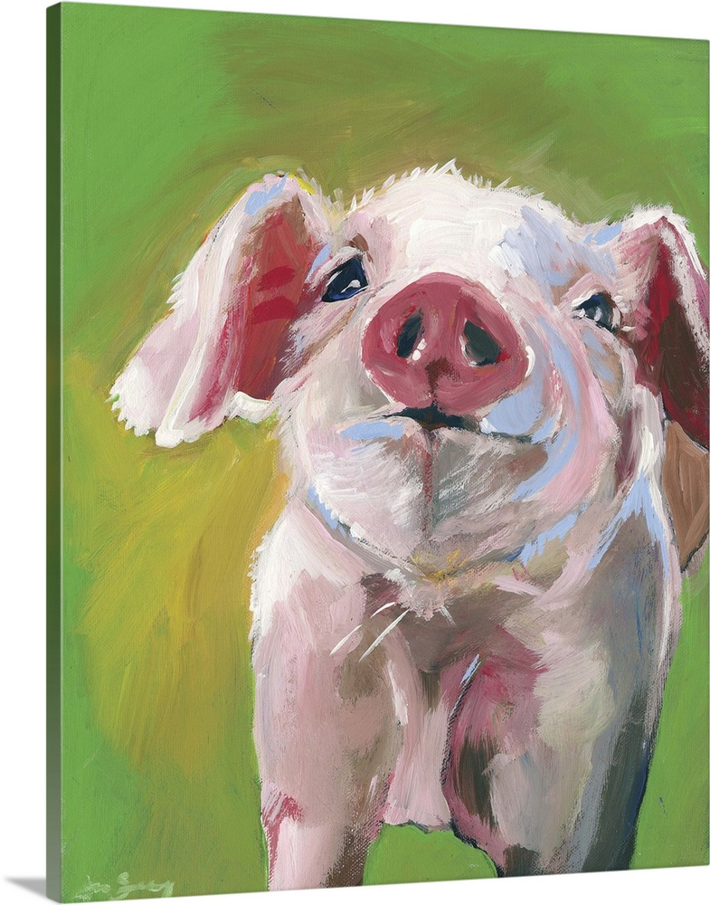 Solid-Faced Canvas Print Wall Art entitled Pig