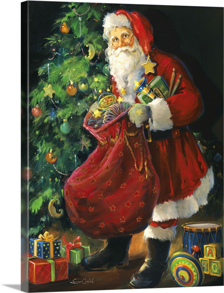 Large Solid-Faced Canvas Print Wall Art Print 30 x 40 entitled Santa Just Opening His Sack Solid-Faced Canvas Print entitled Santa Just Opening His Sack.  Painting of Santa putting toys under a Christmas tree.  Multiple sizes available.  Primary colors within this image include Orange, Dark Red, Dark Gray, White.  Made in the USA.  All products come with a 365 day workmanship guarantee.  Inks used are latex-based and designed to last.  Archival inks prevent fading and preserve as much fine detail as possible with no over-saturation or color shifting.  Featuring a proprietary design, our canvases produce the tightest corners without any bubbles, ripples, or bumps and will not warp or sag over time.