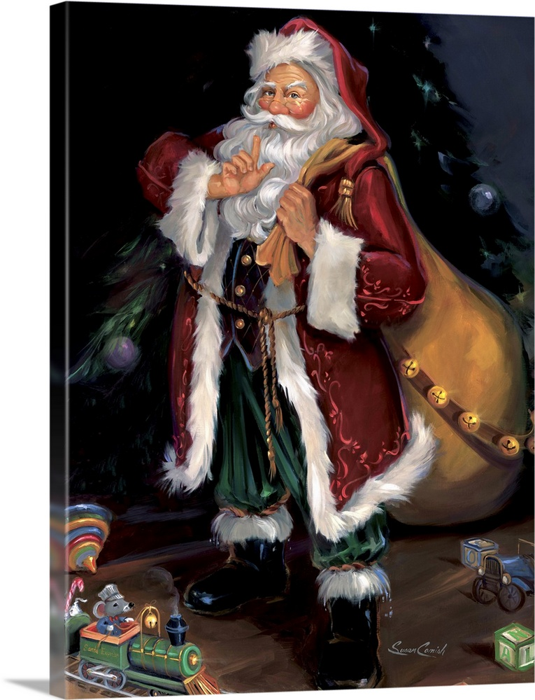 Large Solid-Faced Canvas Print Wall Art Print 30 x 40 entitled Shhhhh Solid-Faced Canvas Print entitled Shhhhh.  Fine art painting of Santa Claus wearing a red coat with toys at his feet.  Multiple sizes available.  Primary colors within this image include Dark Red, Black, Light Gray, White.  Made in the USA.  Satisfaction guaranteed.  Archival-quality UV-resistant inks.  Archival inks prevent fading and preserve as much fine detail as possible with no over-saturation or color shifting.  Featuring a proprietary design, our canvases produce the tightest corners without any bubbles, ripples, or bumps and will not warp or sag over time.