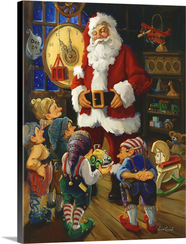 Large Solid-Faced Canvas Print Wall Art Print 30 x 40 entitled Toy Inspection Solid-Faced Canvas Print entitled Toy Inspection.  Painting of Santa Claus talking to his elves in the toy workshop.  Multiple sizes available.  Primary colors within this image include Dark Red, Light Yellow, Dark Gray, Light Gray.  Made in the USA.  Satisfaction guaranteed.  Archival-quality UV-resistant inks.  Featuring a proprietary design, our canvases produce the tightest corners without any bubbles, ripples, or bumps and will not warp or sag over time.  Canvas depth is 1.25 and includes a finished backing with pre-installed hanging hardware.