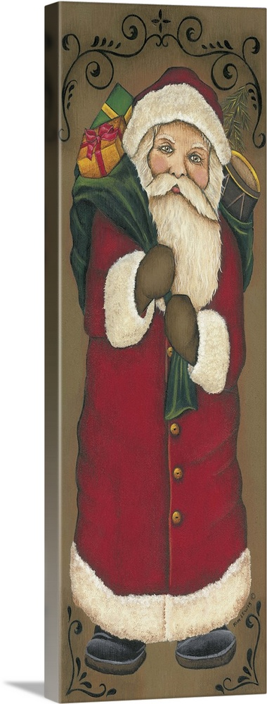 Large Solid-Faced Canvas Print Wall Art Print 16 x 48 entitled Vintage Santa Solid-Faced Canvas Print entitled Vintage Santa.  Painting of Santa holding a bag of toys.  Multiple sizes available.  Primary colors within this image include Dark Red, Black, Gray, Silver.  Made in the USA.  All products come with a 365 day workmanship guarantee.  Inks used are latex-based and designed to last.  Canvas is handcrafted and made-to-order in the United States using high quality artist-grade canvas.  Canvas depth is 1.25 and includes a finished backing with pre-installed hanging hardware.