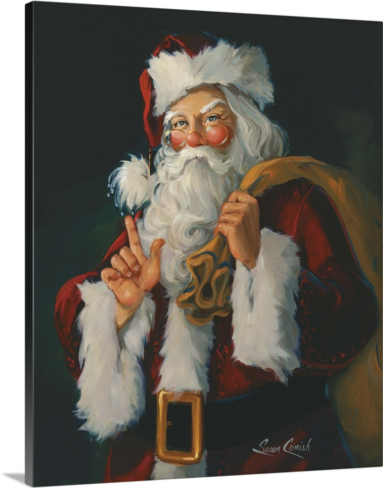 Large Solid-Faced Canvas Print Wall Art Print 24 x 30 entitled You Better Watch Out Solid-Faced Canvas Print entitled You Better Watch Out.  Painting of Santa holding a bag of toys.  Multiple sizes available.  Primary colors within this image include Brown, Dark Gray, Light Gray.  Made in the USA.  All products come with a 365 day workmanship guarantee.  Archival-quality UV-resistant inks.  Featuring a proprietary design, our canvases produce the tightest corners without any bubbles, ripples, or bumps and will not warp or sag over time.  Archival inks prevent fading and preserve as much fine detail as possible with no over-saturation or color shifting.