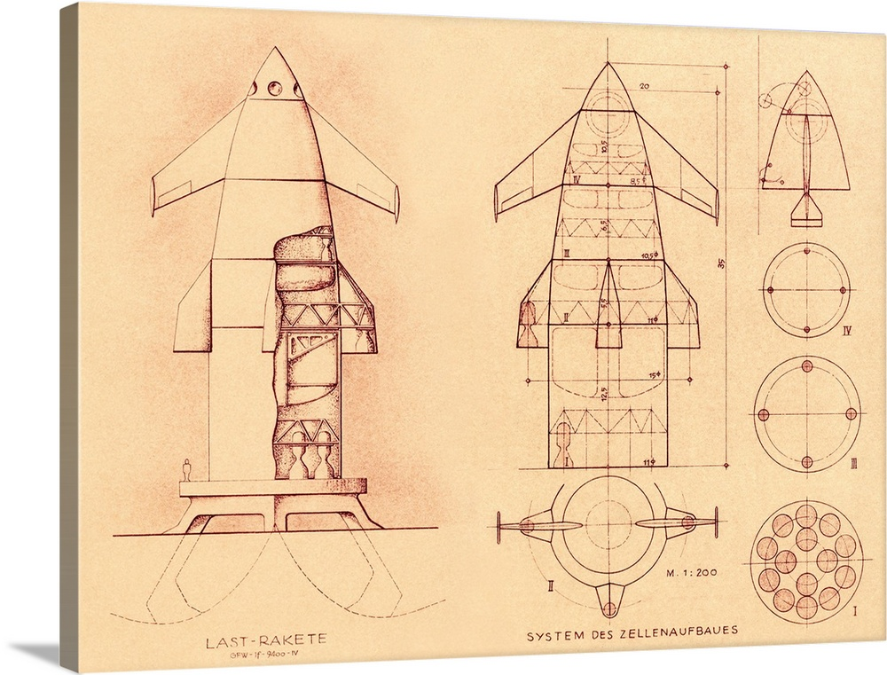 Large Gallery-Wrapped Canvas Wall Art Print 24 x 18 entitled 1951 space shuttle design Gallery-Wrapped Canvas entitled 1951 space shuttle design.  1951 space shuttle design. Plans drawn up in Germany in 1951 for a reusable spacecraft. The idea of a vehicle that could be used more than once for space missions led to the US and Soviet shuttle programmes that started in the 1970s and 1980s.  Multiple sizes available.  Primary colors within this image include Peach Black Gray.  Made in the USA.  Satisfaction guaranteed.  Inks used are latex-based and designed to last.  Canvases are stretched across a 1.5 inch thick wooden frame with easy-to-mount hanging hardware.  Museum-quality artist-grade canvas mounted on sturdy wooden stretcher bars 1.5 thick.  Comes ready to hang.