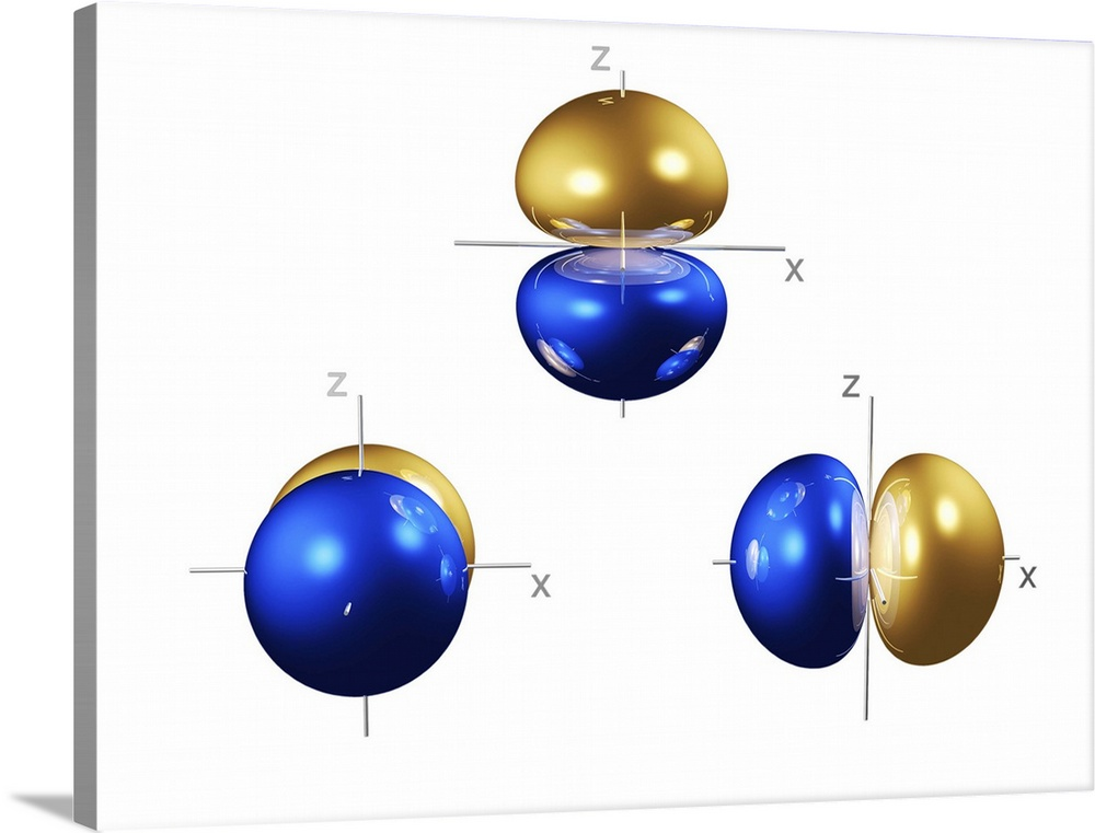 Large Solid-Faced Canvas Print Wall Art Print 40 x 30 entitled 2p electron orbitals Solid-Faced Canvas Print entitled 2p electron orbitals.  2p electron orbitals, computer model. An electron orbital is a region around an atomic nucleus not seen in which one or a pair of electrons is most likely to exist. The three 2p orbitals have a bi- lobed shape centred on the nucleus. They are part of the 2 shell, which also contains a spherical, lower energy 2s orbital. In atoms, electrons fill the lower energy orbitals first. The 2s orbital is only filled when the lowest energy 1s orbital is full, and the 2p orbitals only when both 1s and 2s are full. The 1s and 2s orbitals can both hold a pair of electrons each, as can each 2p orbital. The 2p orbitals are thus full in element 10, neon. Neons electron configuration is written 1s2 2s2 2p6.  Multiple sizes available.  Primary colors within this image include Dark Blue, Peach, White, Royal Blue.  Made in the USA.  Satisfaction guaranteed.  Inks used are latex-based and designed to last.  Archival inks prevent fading and preserve as much fine detail as possible with no over-saturation or color shifting.  Canvas depth is 1.25 and includes a finished backing with pre-installed hanging hardware.