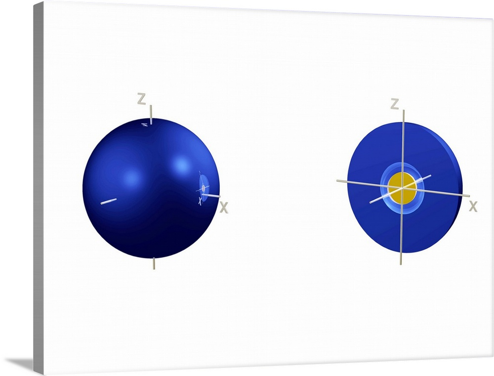 Large Solid-Faced Canvas Print Wall Art Print 40 x 30 entitled 2s electron orbital Solid-Faced Canvas Print entitled 2s electron orbital.  2s electron orbital, computer model. An electron orbital is a region around an atomic nucleus not seen in which one or a pair of electrons is most likely to exist. The orbital is seen halved at right to show the spherical node contained within it. The blue area is where the wave function of the electron has a positive value, and the gold area is where it is negative. The 2 shell contains this 2s orbital and three 2p orbitals not seen at a slightly higher energy level.  Multiple sizes available.  Primary colors within this image include Dark Yellow, Dark Blue, White, Royal Blue.  Made in USA.  All products come with a 365 day workmanship guarantee.  Inks used are latex-based and designed to last.  Canvas is handcrafted and made-to-order in the United States using high quality artist-grade canvas.  Archival inks prevent fading and preserve as much fine detail as possible with no over-saturation or color shifting.
