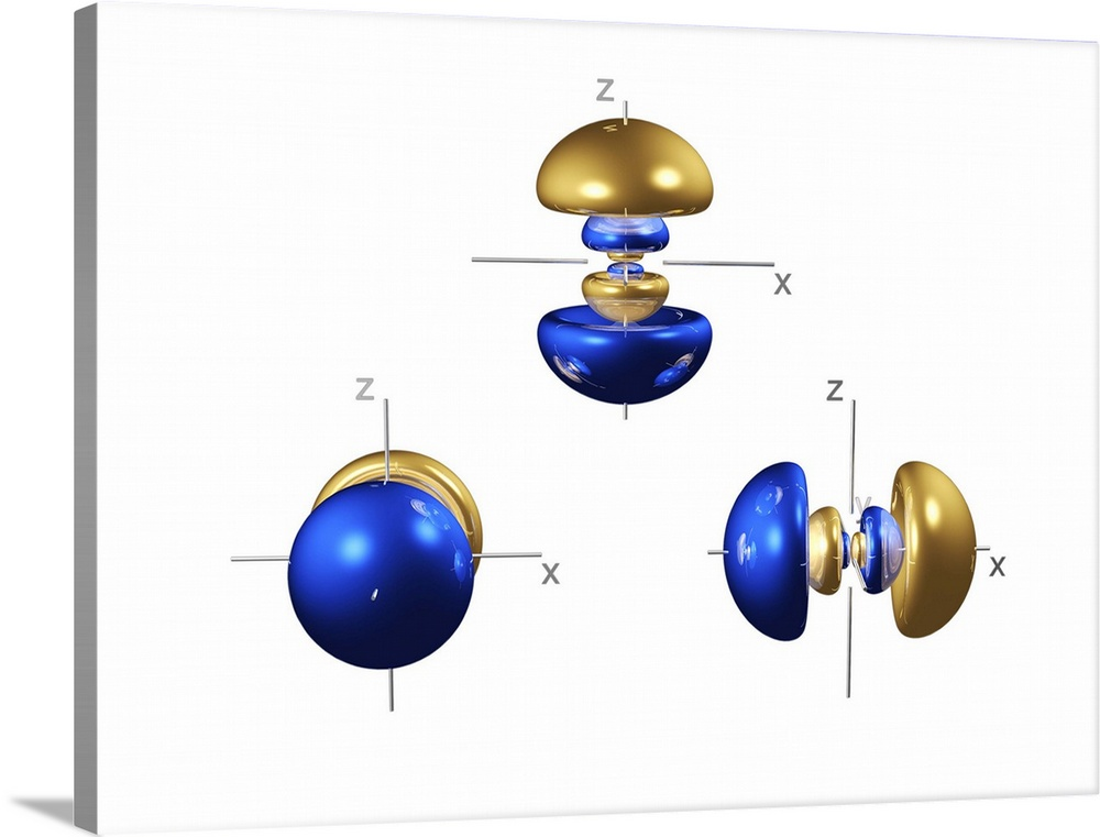 Large Solid-Faced Canvas Print Wall Art Print 40 x 30 entitled 4p electron orbitals Solid-Faced Canvas Print entitled 4p electron orbitals.  4p electron orbitals, computer model. An electron orbital is a region around an atomic nucleus not seen in which one or a pair of electrons is most likely to exist. The three 4p orbitals are each made up of six lobes, three pairs centred on the nucleus that decrease in size towards it. They are part of the 4 shell, which also contains a spherical 4s orbital at lower energy, and five 4d orbitals and seven 4f orbitals at a higher energy not seen.  Multiple sizes available.  Primary colors within this image include Blue, Light Yellow, Sky Blue, Dark Navy Blue.  Made in USA.  All products come with a 365 day workmanship guarantee.  Archival-quality UV-resistant inks.  Canvas is handcrafted and made-to-order in the United States using high quality artist-grade canvas.  Archival inks prevent fading and preserve as much fine detail as possible with no over-saturation or color shifting.