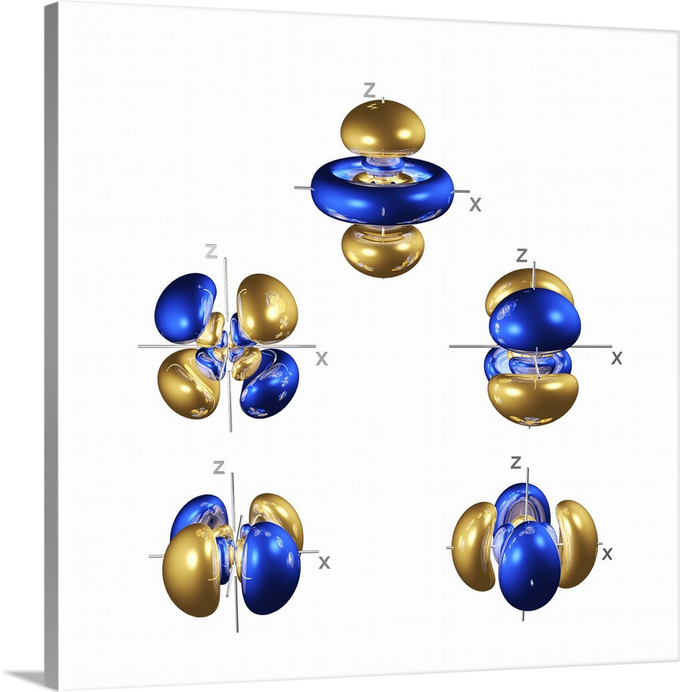 Large Solid-Faced Canvas Print Wall Art Print 20 x 20 entitled 5d electron orbitals Solid-Faced Canvas Print entitled 5d electron orbitals.  5d electron orbitals, computer model. An electron orbital is a region around an atomic nucleus not seen in which one or a pair of electrons is most likely to exist. Four of the five 5d orbitals are made up of four tri-lobed lobes, centred on the nucleus. The orbital at top comprises two tri- lobed lobes with a concentric pair of equatorial rings. The 5 shell also contains one spherical 5s orbital and three lobed 5p orbitals, both at a lower energy, and seven lobed 5f orbitals at a higher energy level not seen. The 5d shells are partially full in the third row of transition metals, which typically form coloured compounds as electron transitions between 5d orbitals absorb some visible wavelengths of light.  Multiple sizes available.  Primary colors within this image include Blue, Dark Blue, Light Yellow, White.  Made in the USA.  All products come with a 365 day workmanship guarantee.  Archival-quality UV-resistant inks.  Featuring a proprietary design, our canvases produce the tightest corners without any bubbles, ripples, or bumps and will not warp or sag over time.  Archival inks prevent fading and preserve as much fine detail as possible with no over-saturation or color shifting.