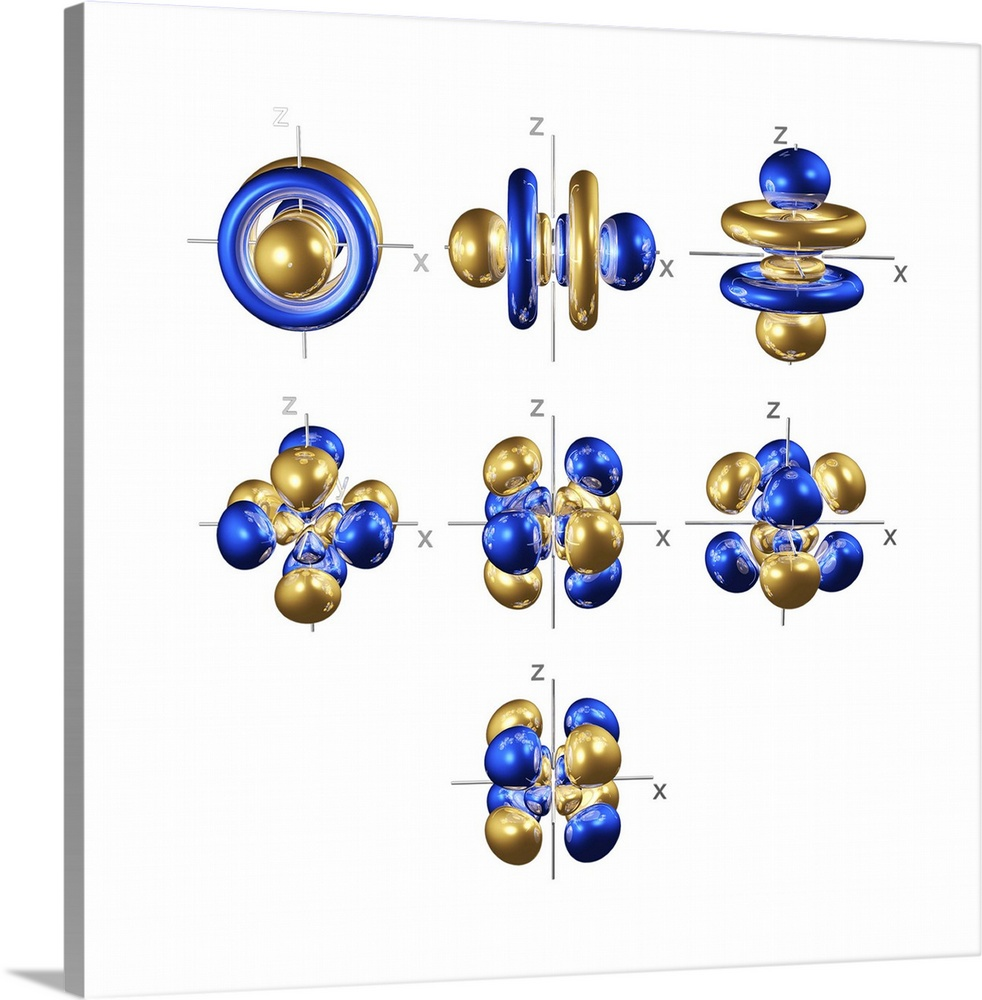 Large Solid-Faced Canvas Print Wall Art Print 20 x 20 entitled 5f electron orbitals, cubic set Solid-Faced Canvas Print entitled 5f electron orbitals, cubic set.  5f electron orbitals, cubic set, computer model. An electron orbital is a region around an atomic nucleus not seen in which one or a pair of electrons is most likely to exist. The 5f orbitals are unusual in that there are two ways to represent the orbital shapes. In the cubic set, the bottom four orbitals are eight-lobed. The three upper orbitals have lobes with encircling cones. The general set is shown in image A152151. The 5f orbitals are partially filled in the Actinide metals.  Multiple sizes available.  Primary colors within this image include Blue, Dark Blue, Sky Blue, White.  Made in USA.  Satisfaction guaranteed.  Inks used are latex-based and designed to last.  Featuring a proprietary design, our canvases produce the tightest corners without any bubbles, ripples, or bumps and will not warp or sag over time.  Canvas is handcrafted and made-to-order in the United States using high quality artist-grade canvas.