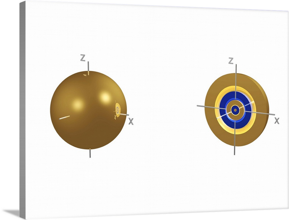 Large Solid-Faced Canvas Print Wall Art Print 40 x 30 entitled 5s electron orbital Solid-Faced Canvas Print entitled 5s electron orbital.  5s electron orbital, computer model. An electron orbital is a region around an atomic nucleus not seen in which one or a pair of electrons is most likely to exist. The orbital is seen halved at right to show the concentric spherical nodes within the orbital. Gold areas are where the wave function of the electron has a positive value, and blue areas where it has a negative value. The 5s orbital has the lowest energy of the orbitals in the 5 shell, which also includes three 5p orbitals, five 5p orbitals and seven 5f orbitals.  Multiple sizes available.  Primary colors within this image include Dark Yellow, Dark Blue, Black, White.  Made in USA.  Satisfaction guaranteed.  Archival-quality UV-resistant inks.  Archival inks prevent fading and preserve as much fine detail as possible with no over-saturation or color shifting.  Featuring a proprietary design, our canvases produce the tightest corners without any bubbles, ripples, or bumps and will not warp or sag over time.
