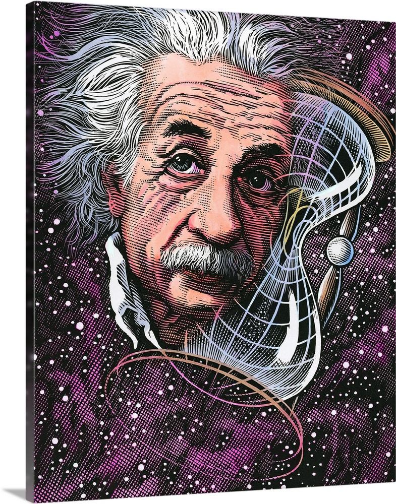 Large Gallery-Wrapped Canvas Wall Art Print 16 x 20 entitled Albert Einstein, German physicist Gallery-Wrapped Canvas entitled Albert Einstein German physicist.  Albert Einstein 1879-1955 German-born physicist. Famous for his theories of relativity Einstein has become a cultural icon his name synonymous with genius. In 1905 whilst working as a patent clerk he wrote four papers including one on special relativity. From this the idea of a space-time continuum followed and is represented here as space warped into the shape of an hourglass at right. His paper on general relativity followed in 1916 which theorized that gravitational acceleration can be described by the curvature of space and time. His theories replaced the previously unchallenged Newtonian system and as such have shaped modern physics.  Multiple sizes available.  Primary colors within this image include Plum Dark Gray Gray White.  Made in the USA.  All products come with a 365 day workmanship guarantee.  Archival-quality UV-resistant inks.  Canvas frames are built with farmed or reclaimed domestic pine or poplar wood.  Canvases have a UVB protection built in to protect against fading and moisture and are designed to last for over 100 years.
