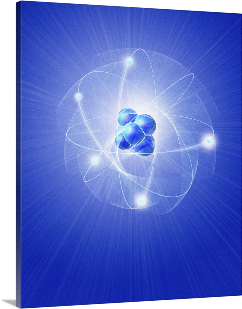 Large Solid-Faced Canvas Print Wall Art Print 24 x 30 entitled Atom, artwork Solid-Faced Canvas Print entitled Atom, artwork.  Atomic structure. Conceptual computer artwork of five electrons orbiting a central nucleus. This is a classical schematic Bohr model of an atom. In quantum physics it is thought that the electrons do not actually follow a defined orbit, but instead inhabit areas of probability around the nucleus.  Multiple sizes available.  Primary colors within this image include Dark Blue, Sky Blue, Black, White.  Made in the USA.  All products come with a 365 day workmanship guarantee.  Inks used are latex-based and designed to last.  Featuring a proprietary design, our canvases produce the tightest corners without any bubbles, ripples, or bumps and will not warp or sag over time.  Canvas depth is 1.25 and includes a finished backing with pre-installed hanging hardware.