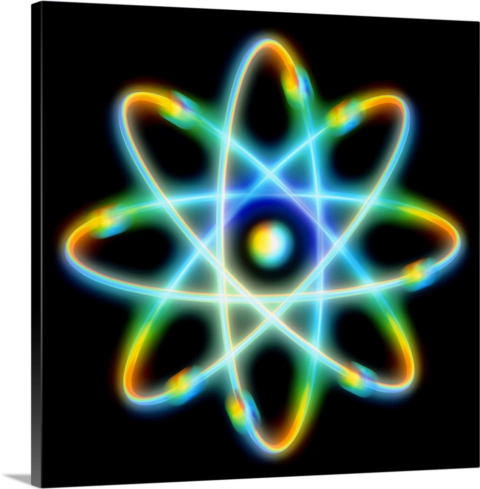 Large Solid-Faced Canvas Print Wall Art Print 20 x 20 entitled Atomic structure Solid-Faced Canvas Print entitled Atomic structure.  Atomic structure. Conceptual computer artwork representing the structure of an atom. Eight electrons are seen orbiting the central nucleus along definite paths. This is a schematic Bohr model of an atom electrons are thought to inhabit areas of probability around a nucleus rather than fixed paths such as these.  Multiple sizes available.  Primary colors within this image include Yellow, Dark Blue, Peach, Black.  Made in USA.  Satisfaction guaranteed.  Inks used are latex-based and designed to last.  Featuring a proprietary design, our canvases produce the tightest corners without any bubbles, ripples, or bumps and will not warp or sag over time.  Archival inks prevent fading and preserve as much fine detail as possible with no over-saturation or color shifting.