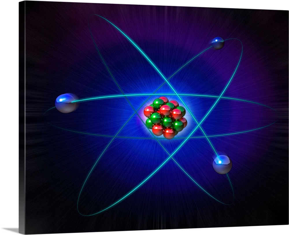 Large Solid-Faced Canvas Print Wall Art Print 30 x 24 entitled Atomic structure Solid-Faced Canvas Print entitled Atomic structure.  Atomic structure. Conceptual computer artwork of atomic structure. Three electrons blue are seen orbiting the central nucleus. Neutrons green are neutral and protons red carry positive charge. They bind together in the nucleus. This model of electronic structure was proposed by Niels Bohr. Later developments in physics led to electrons being viewed as indeterminate particles with wave properties, spread over areas of probability, rather than orbiting on fixed paths. Electrons are negatively-charged and determine the course of chemical reactions. Nuclear reactions liberate energy from the nucleus. The proton is 1836 times as massive as the electron.  Multiple sizes available.  Primary colors within this image include Blue, Dark Blue, Black, Royal Blue.  Made in the USA.  All products come with a 365 day workmanship guarantee.  Inks used are latex-based and designed to last.  Canvas depth is 1.25 and includes a finished backing with pre-installed hanging hardware.  Featuring a proprietary design, our canvases produce the tightest corners without any bubbles, ripples, or bumps and will not warp or sag over time.