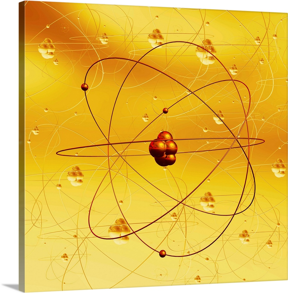 Large Solid-Faced Canvas Print Wall Art Print 20 x 20 entitled Atomic structure, artwork Solid-Faced Canvas Print entitled Atomic structure, artwork.  Atomic structure. Computer artwork of electrons orbiting a central nucleus. This is a classical schematic Bohr model of an atom.  Multiple sizes available.  Primary colors within this image include Orange, Dark Red, Peach, Black.  Made in the USA.  All products come with a 365 day workmanship guarantee.  Archival-quality UV-resistant inks.  Archival inks prevent fading and preserve as much fine detail as possible with no over-saturation or color shifting.  Canvas is handcrafted and made-to-order in the United States using high quality artist-grade canvas.