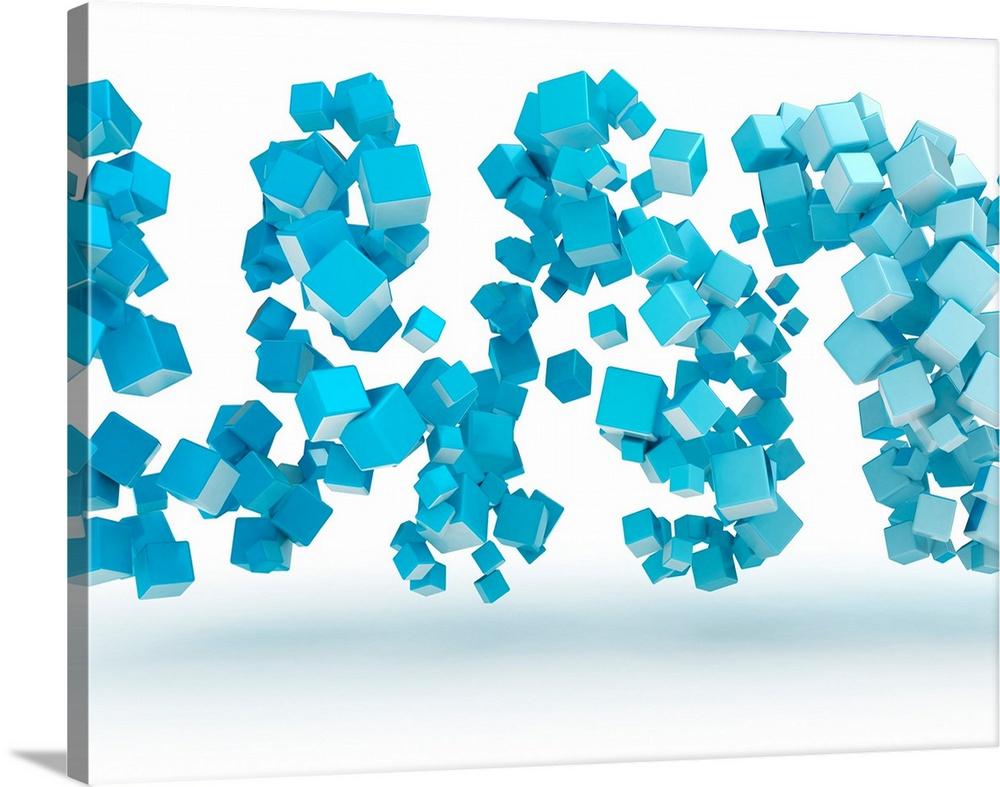 Canvas Kunst Drucken  Blau Cubes, Illustration