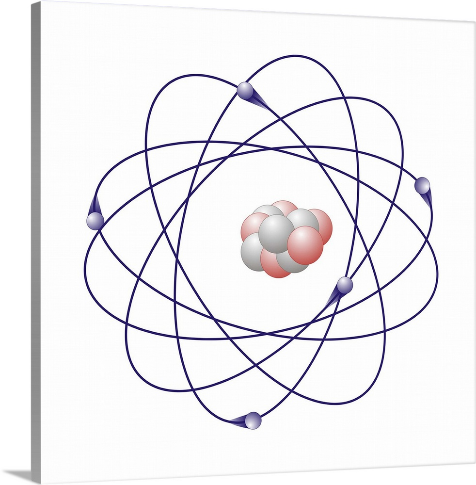 Large Solid-Faced Canvas Print Wall Art Print 20 x 20 entitled Boron, atomic model Solid-Faced Canvas Print entitled Boron, atomic model.  Boron, atomic model. Boron has six neutrons white and five protons pink in its nucleus centre. The atom also has five electron blue orbiting the nucleus.  Multiple sizes available.  Primary colors within this image include Dark Blue, Pink, White, Muted Blue.  Made in USA.  Satisfaction guaranteed.  Inks used are latex-based and designed to last.  Canvas is handcrafted and made-to-order in the United States using high quality artist-grade canvas.  Canvas depth is 1.25 and includes a finished backing with pre-installed hanging hardware.