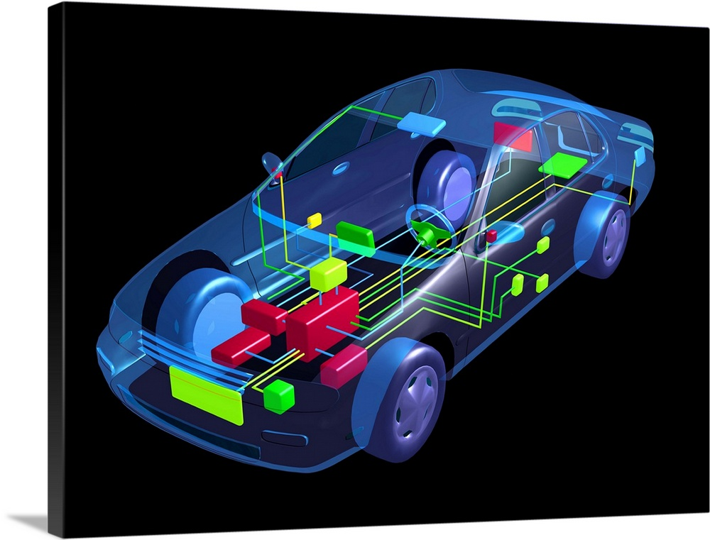 Large Solid-Faced Canvas Print Wall Art Print 40 x 30 entitled Car design Solid-Faced Canvas Print entitled Car design.  Car design. Computer-aided design CAD image of a modern car. Wiring and electronics for functions such as central locking, electric windows and powered mirror adjustment are highlighted.  Multiple sizes available.  Primary colors within this image include Dark Red, Black, White, Royal Blue.  Made in USA.  Satisfaction guaranteed.  Archival-quality UV-resistant inks.  Canvas depth is 1.25 and includes a finished backing with pre-installed hanging hardware.  Featuring a proprietary design, our canvases produce the tightest corners without any bubbles, ripples, or bumps and will not warp or sag over time.