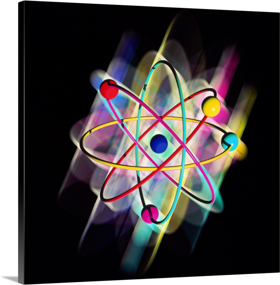 Large Solid-Faced Canvas Print Wall Art Print 20 x 20 entitled Computer artwork of a beryllium atom Solid-Faced Canvas Print entitled Computer artwork of a beryllium atom.  Atomic structure. Computer artwork representing a single atom of beryllium symbol Be. This is the traditional way the structure of an atom is depicted, showing electrons orbiting in paths around a central nucleus. Beryllium contains four electrons variously coloured, and a nucleus which has four protons and five neutrons not seen. The number of electrically positive protons balances the number of negatively charged electrons. This image is highly schematic. Scientists now believe that electron orbits are more eccentric and electrons inhabit a cloud of probability rather than moving in well-defined orbital paths often called the Bohr model.  Multiple sizes available.  Primary colors within this image include Red, Yellow, Black, White.  Made in USA.  Satisfaction guaranteed.  Inks used are latex-based and designed to last.  Featuring a proprietary design, our canvases produce the tightest corners without any bubbles, ripples, or bumps and will not warp or sag over time.  Canvas depth is 1.25 and includes a finished backing with pre-installed hanging hardware.