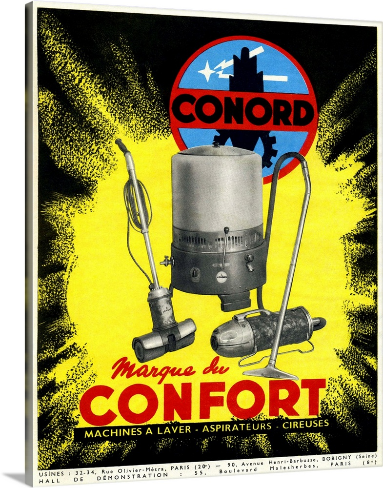 Large Gallery-Wrapped Canvas Wall Art Print 16 x 20 entitled Conord domestic appliances advert, 1949 Gallery-Wrapped Canvas entitled Conord domestic appliances advert 1949.  Conord domestic appliances advert from the 1940s. The advert which is in French with factory and display hall details at bottom includes washing machines and vacuum cleaners. In the inter-war years the Salon des Arts Menagers was a gallery used to display and promote new technology to the French. However washing machines did not become popular in France until the 1960s when older bulkier models that used fireboxes were replaced with more modern technology. Similarly the vacuum cleaners here are newer electric models. This advert was published in August 1949 in the French magazine Arts Menagers.  Multiple sizes available.  Primary colors within this image include Yellow Dark Red Black White.  Made in USA.  All products come with a 365 day workmanship guarantee.  Archival-quality UV-resistant inks.  Canvases have a UVB protection built in to protect against fading and moisture and are designed to last for over 100 years.  Canvas is a 65 polyester 35 cotton base with two acrylic latex primer basecoats and a semi-gloss inkjet receptive topcoat.