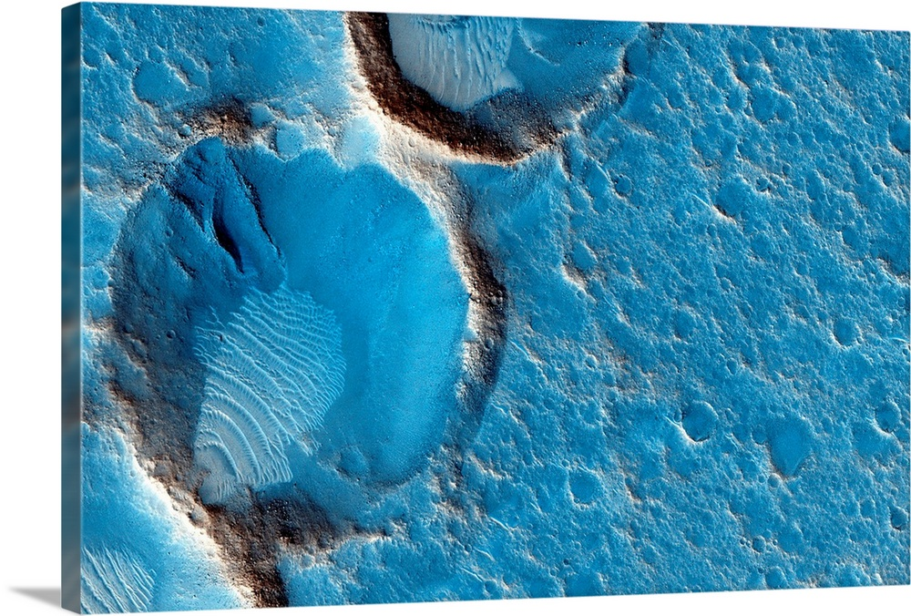 Large Solid-Faced Canvas Print Wall Art Print 30 x 20 entitled Craters on Mars, MRO image Solid-Faced Canvas Print entitled Craters on Mars, MRO image.  Craters on Mars. Satellite image showing wind-blown deposits inside a group of eroded craters on the surface of Mars. This is the landing site for the proposed Ares 3 mission. Imaged by the High Resolution Imaging Science Experiment HiRISE camera on NASAs Mars Reconnaissance Orbiter MRO satellite.  Multiple sizes available.  Primary colors within this image include Gray, White, Gray Blue, Dark Navy Blue.  Made in USA.  All products come with a 365 day workmanship guarantee.  Archival-quality UV-resistant inks.  Canvas is handcrafted and made-to-order in the United States using high quality artist-grade canvas.  Featuring a proprietary design, our canvases produce the tightest corners without any bubbles, ripples, or bumps and will not warp or sag over time.