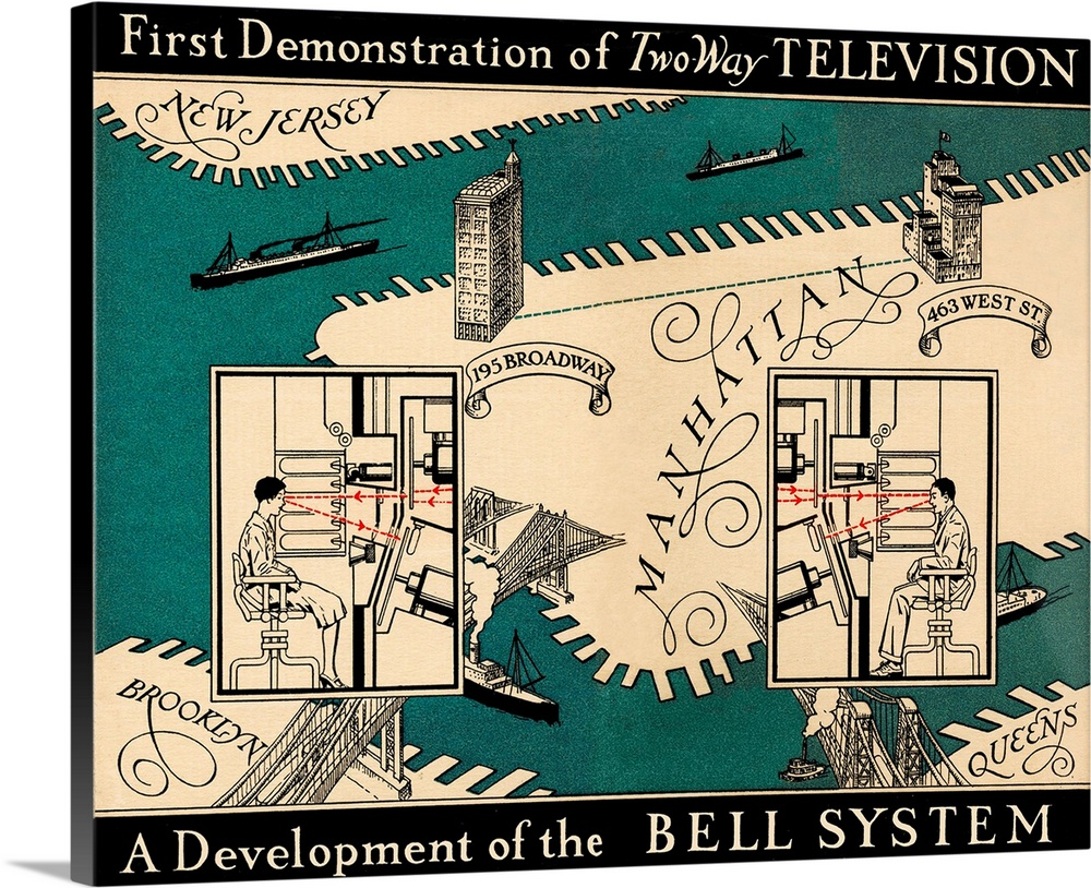 Large Gallery-Wrapped Canvas Wall Art Print 20 x 16 entitled Early video phone system, 1930 Gallery-Wrapped Canvas entitled Early video phone system, 1930.  Early video phone system, 1930. Historical artwork showing the two-way television communication system demonstrated by Bell Labs on Manhattan Island, New York City, USA, in 1930. The system used light beams and a spinning disc with 50 holes in it the discs are seen behind the screens in front of the people. 195 Broadway left is the headquarters of the ATandT telephone company. 463 West Street right is the headquarters of Bell Telephone Laboratories. The system allowed the operators to see a small, relatively poor-quality black-and-white picture of the other person. Successful videophones were not properly developed until several decades later.  Multiple sizes available.  Primary colors within this image include Pink, Peach, Black, Gray.  Made in the USA.  All products come with a 365 day workmanship guarantee.  Archival-quality UV-resistant inks.  Canvases have a UVB protection built in to protect against fading and moisture and are designed to last for over 100 years.  Canvas is a 65 polyester, 35 cotton base, with two acrylic latex primer basecoats and a semi-gloss inkjet receptive topcoat.