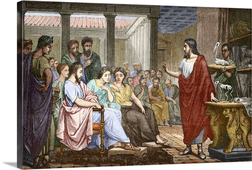 Large Gallery-Wrapped Canvas Wall Art Print 24 x 16 entitled Galen lecturing on anatomy in Rome Gallery-Wrapped Canvas entitled Galen lecturing on anatomy in Rome.  Galen c.129-200 AD Ancient Greek physician and anatomist lecturing on anatomy in Rome in the Temple of Peace using animal skeletons right. Galen came to Rome in 162 AD. He became physician to the emperor Marcus Aurelius and gave public lectures and demonstrations in his native Greek. Galens ideas would dominate western medicine for the next 1500 years. Artwork from the 19th century book Vies des Savants Illustres.  Multiple sizes available.  Primary colors within this image include Peach Gray White Dark Forest Green.  Made in USA.  All products come with a 365 day workmanship guarantee.  Inks used are latex-based and designed to last.  Canvas is designed to prevent fading.  Canvas frames are built with farmed or reclaimed domestic pine or poplar wood.