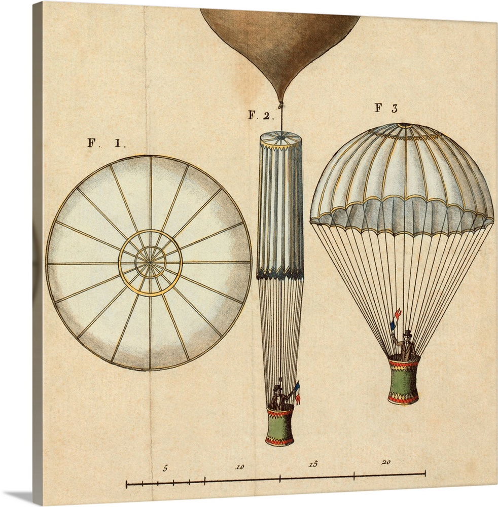 Large Gallery-Wrapped Canvas Wall Art Print 16 x 16 entitled Garnerin's parachute design, 1797 Gallery-Wrapped Canvas entitled Garnerins parachute design 1797.  Garnerins parachute design. This is the design for the first parachute of the French balloonist Andre Jacques Garnerin 1769-1823 and includes a scale. The three illustrations show the top of the deployed parachute left the parachute before release from an ascending balloon middle and the parachute after release right. Garnerin performed the first parachute descent in Mousseuax Park Paris France on 22 October 1797.  Multiple sizes available.  Primary colors within this image include Dark Red Black Silver.  Made in the USA.  All products come with a 365 day workmanship guarantee.  Archival-quality UV-resistant inks.  Canvas is a 65 polyester 35 cotton base with two acrylic latex primer basecoats and a semi-gloss inkjet receptive topcoat.  Museum-quality artist-grade canvas mounted on sturdy wooden stretcher bars 1.5 thick.  Comes ready to hang.