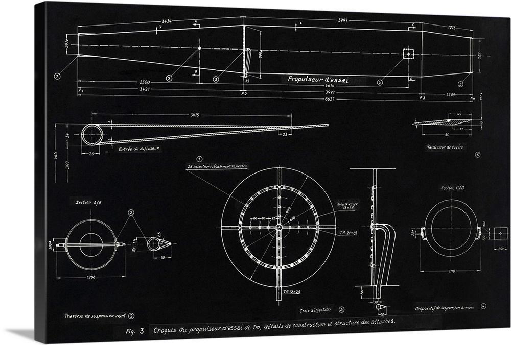 Solid-Faced toile Print Wall Art entitled Gerhomme WWII ramjet engine bleuprint