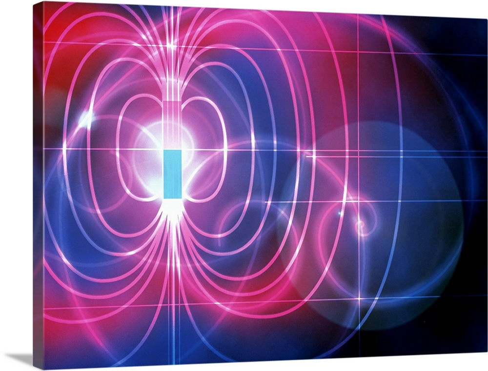 Large Solid-Faced Canvas Print Wall Art Print 40 x 30 entitled Magnetic field Solid-Faced Canvas Print entitled Magnetic field.  Magnetic field. Computer artwork of the magnetic field around a magnet. The field is the three- dimensional region around a magnet where magnetic forces can be experienced. It is represented here as a series of lines which run in closed loops between the poles of the magnet pink and blue. A magnetic field always runs from the north pole to the south pole. The field lines show the path that a magnetic north pole would follow if placed within the field. The magnetic forces which cause the pole to move are produced by the motion of charged particles within the magnet. These forces influence other magnetic materials in the field without physically contacting them.  Multiple sizes available.  Primary colors within this image include Dark Red, Light Purple, Black, White.  Made in USA.  Satisfaction guaranteed.  Archival-quality UV-resistant inks.  Canvas depth is 1.25 and includes a finished backing with pre-installed hanging hardware.  Archival inks prevent fading and preserve as much fine detail as possible with no over-saturation or color shifting.