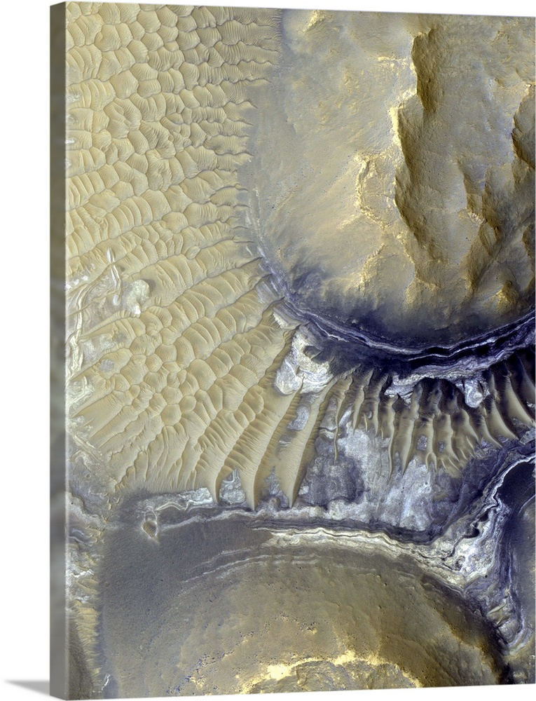 Large Gallery-Wrapped Canvas Wall Art Print 17 x 24 entitled Noctis Labyrinthus, Mars Gallery-Wrapped Canvas entitled Noctis Labyrinthus Mars.  Noctis Labyrinthus Mars. Coloured satellite image of exposed layers on the valley walls of Noctis Labyrinthus on Mars. The white and grey patches middle right are thought to contain iron-bearing sulphates and phyllosilicates. The formation of these minerals is strongly associated with the presence of water. The deposits are surrounded by wind-blown sand dunes. Image obtained by the High Resolution Imaging Science Experiment HiRISE camera on NASAs Mars Reconnaissance Orbiter MRO on 18th August 2009. The width of this image is roughly 1.2 kilometres across.  Multiple sizes available.  Primary colors within this image include Black White Dark Forest Green.  Made in USA.  Satisfaction guaranteed.  Archival-quality UV-resistant inks.  Canvas is designed to prevent fading.  Canvas is acid-free and 20 millimeters thick.