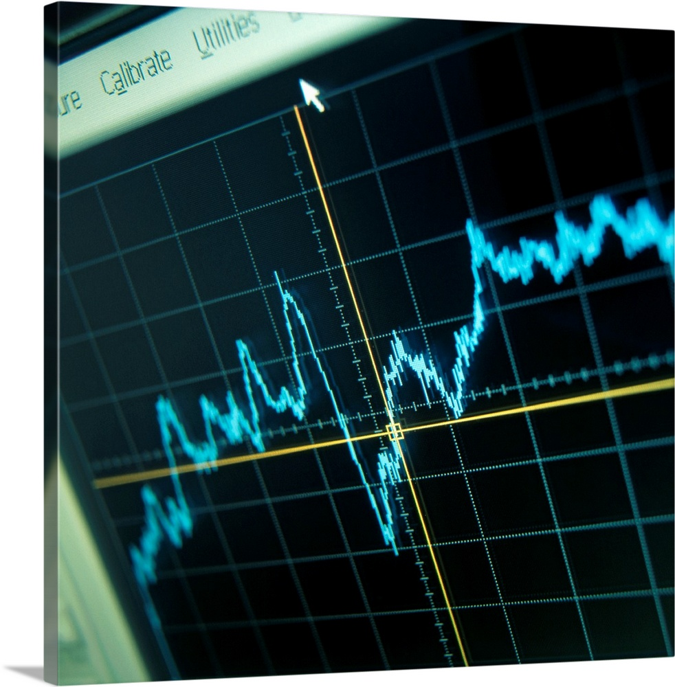 Large Solid-Faced Canvas Print Wall Art Print 20 x 20 entitled Oscilloscope trace Solid-Faced Canvas Print entitled Oscilloscope trace.  Oscilloscope trace. Screen of an oscilloscope showing a trace of voltage against time. Oscilloscopes are used to display and analyse waveforms of electronic signals. The device is used in a multitude of applications in science and engineering.  Multiple sizes available.  Primary colors within this image include Light Yellow, Light Green, Black, Teal.  Made in USA.  All products come with a 365 day workmanship guarantee.  Archival-quality UV-resistant inks.  Archival inks prevent fading and preserve as much fine detail as possible with no over-saturation or color shifting.  Canvas is handcrafted and made-to-order in the United States using high quality artist-grade canvas.