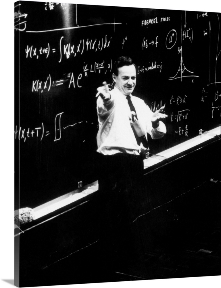 Large Solid-Faced Canvas Print Wall Art Print 24 x 30 entitled Richard P. Feynman (1918-1988), physicist Solid-Faced Canvas Print entitled Richard P. Feynman 1918-1988, physicist.  The American physicist, Richard Feynman, 1918- 1988. As a young man, Feynman worked on the atomic bomb the Manhattan project. In the late 1940s he developed quantum electrodynamics QED. This QED research contributed methods on field theory which have been widely used. In it he showed that the interaction between electrons can be described quantitatively as a sum of terms. Each term can be written as a Feynman diagram consisting of lines called Feynman propagators which describe the exchange of particles. For this more precise working out of the behaviour of electrons, he shared the Nobel Prize for physics in 1965 with Schwinger and Tomonaga. Feynman was renowned as an entertainer.  Multiple sizes available.  Primary colors within this image include Black, Gray, White.  Made in USA.  Satisfaction guaranteed.  Inks used are latex-based and designed to last.  Archival inks prevent fading and preserve as much fine detail as possible with no over-saturation or color shifting.  Canvas is handcrafted and made-to-order in the United States using high quality artist-grade canvas.
