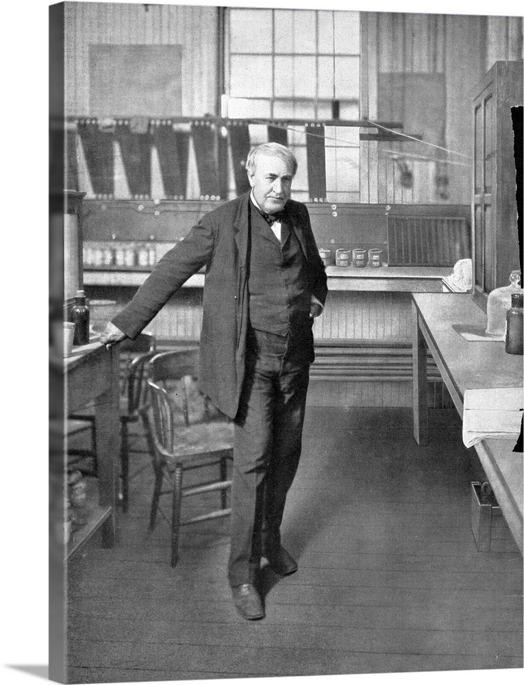 Large Gallery-Wrapped Canvas Wall Art Print 17 x 24 entitled Thomas Edison, US inventor Gallery-Wrapped Canvas entitled Thomas Edison US inventor.  Thomas Alva Edison 1847-1931 US inventor in his laboratory. Edison is famous for inventing or improving devices such as the phonograph and the electric light bulb. Edison was one of the first inventors to build research laboratories to make and develop inventions. He also founded several companies and filed over 1000 patents. Other work included improvements to telegraphy cameras and motion picture cameras as well as promoting his DC electrical distribution systems. He also discovered the Edison Effect on which thermionic valves are based.  Multiple sizes available.  Primary colors within this image include Black Gray Silver.  Made in the USA.  Satisfaction guaranteed.  Inks used are latex-based and designed to last.  Canvases have a UVB protection built in to protect against fading and moisture and are designed to last for over 100 years.  Canvas is designed to prevent fading.