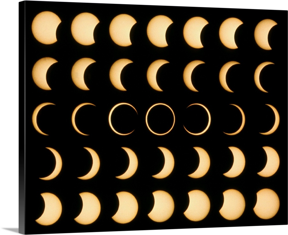 Large Solid-Faced Canvas Print Wall Art Print 30 x 24 entitled Time-lapse image of a solar eclipse Solid-Faced Canvas Print entitled Time-lapse image of a solar eclipse.  Annular solar eclipse. Time lapse mosaic image of an annular solar eclipse. A solar eclipse occurs when the moon passes between the Earth and the Sun, blocking the Suns light. An annular eclipse is when the Earth is relatively close to the Sun near perihelion .  Multiple sizes available.  Primary colors within this image include Brown, Peach, Black.  Made in USA.  Satisfaction guaranteed.  Inks used are latex-based and designed to last.  Featuring a proprietary design, our canvases produce the tightest corners without any bubbles, ripples, or bumps and will not warp or sag over time.  Canvas is handcrafted and made-to-order in the United States using high quality artist-grade canvas.