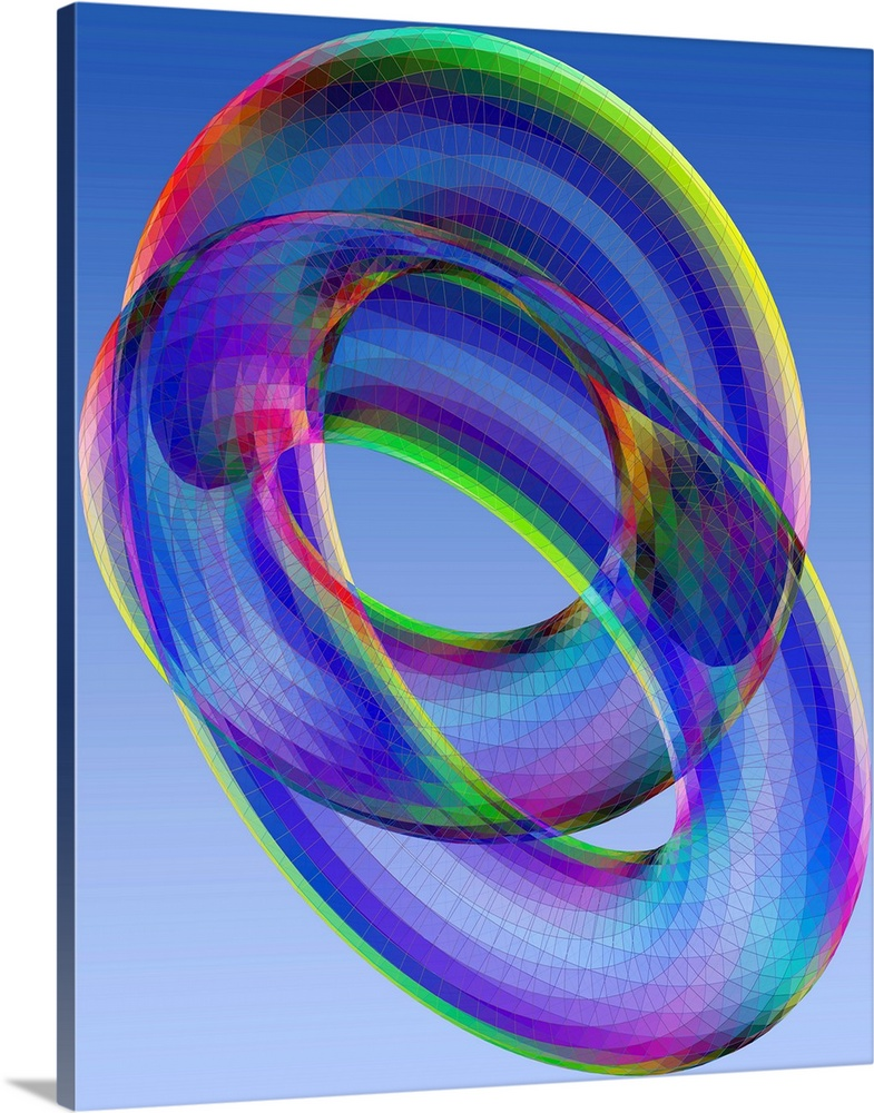 Large Solid-Faced Canvas Print Wall Art Print 24 x 30 entitled Torus Solid-Faced Canvas Print entitled Torus.  Torus. Computer model of the three-dimensional projection or shadow of a 4-dimensional torus, a mathematical shape. The projection is partially transparent to show the intersecting structure. The torus does not actually pass through itself in the fourth dimension. The intersecting structure results from viewing it in only three dimensions. This model was created as an artwork by Professor Eric Heller.  Multiple sizes available.  Primary colors within this image include Yellow, Dark Blue, Sky Blue, Royal Blue.  Made in the USA.  Satisfaction guaranteed.  Inks used are latex-based and designed to last.  Archival inks prevent fading and preserve as much fine detail as possible with no over-saturation or color shifting.  Canvas depth is 1.25 and includes a finished backing with pre-installed hanging hardware.