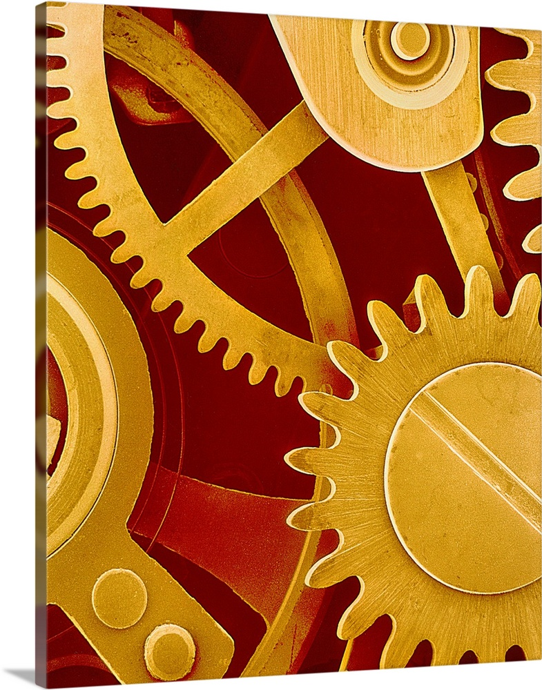 Large Solid-Faced Canvas Print Wall Art Print 24 x 30 entitled Watch gears, SEM Solid-Faced Canvas Print entitled Watch gears, SEM.  Watch gears. Coloured scanning electron micrograph SEM of the internal mechanism of a wristwatch. The crown wheel lower right is part of the watchs winding mechanism. The mainspring far left is compressed when the watch is wound. The other cogs visible comprise the motion work which drives the hands to display the time on the watch face. Magnification x8 at 6x7cm size.  Multiple sizes available.  Primary colors within this image include Dark Red, Brown, Black, White.  Made in USA.  All products come with a 365 day workmanship guarantee.  Inks used are latex-based and designed to last.  Archival inks prevent fading and preserve as much fine detail as possible with no over-saturation or color shifting.  Featuring a proprietary design, our canvases produce the tightest corners without any bubbles, ripples, or bumps and will not warp or sag over time.