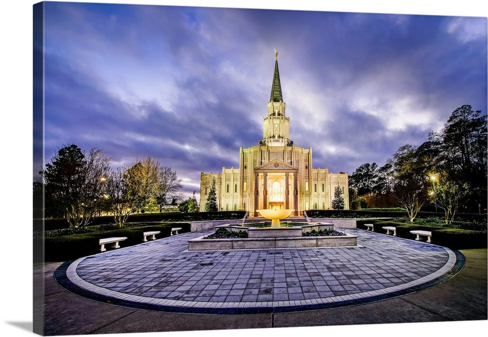 Large Solid-Faced Canvas Print Wall Art Print 30 x 20 entitled Houston Texas Temple at Twilight, Spring, Texas Solid-Faced Canvas Print entitled Houston Texas Temple at Twilight, Spring, Texas.  The Houston Dallas Temple is the 97th operating temple and  encompasses nearly 34,000 square feet. The temple site was formerly owned by Don Hand, who attended the groundbreaking ceremony and helped the ideal architect to design the temple.  Multiple sizes available.  Primary colors within this image include White, Dark Forest Green, Gray Blue, Dark Navy Blue.  Made in USA.  All products come with a 365 day workmanship guarantee.  Archival-quality UV-resistant inks.  Canvas depth is 1.25 and includes a finished backing with pre-installed hanging hardware.  Canvas is handcrafted and made-to-order in the United States using high quality artist-grade canvas.