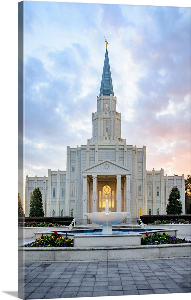 Large Solid-Faced Canvas Print Wall Art Print 20 x 30 entitled Houston Texas Temple, Red and Blue, Spring, Texas Solid-Faced Canvas Print entitled Houston Texas Temple, Red and Blue, Spring, Texas.  The Houston Dallas Temple is the 97th operating temple and  encompasses nearly 34,000 square feet. The temple site was formerly owned by Don Hand, who attended the groundbreaking ceremony and helped the ideal architect to design the temple.  Multiple sizes available.  Primary colors within this image include Dark Yellow, Black, Gray, Pale Blue.  Made in the USA.  Satisfaction guaranteed.  Inks used are latex-based and designed to last.  Archival inks prevent fading and preserve as much fine detail as possible with no over-saturation or color shifting.  Canvas depth is 1.25 and includes a finished backing with pre-installed hanging hardware.