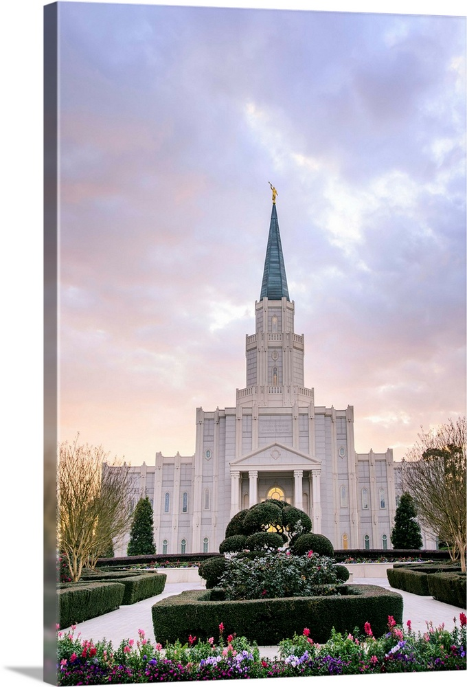 Large Solid-Faced Canvas Print Wall Art Print 20 x 30 entitled Houston Texas Temple, Soft Sunset, Spring, Texas Solid-Faced Canvas Print entitled Houston Texas Temple, Soft Sunset, Spring, Texas.  The Houston Dallas Temple is the 97th operating temple and  encompasses nearly 34,000 square feet. The temple site was formerly owned by Don Hand, who attended the groundbreaking ceremony and helped the ideal architect to design the temple.  Multiple sizes available.  Primary colors within this image include Plum, Black, Gray, White.  Made in USA.  All products come with a 365 day workmanship guarantee.  Inks used are latex-based and designed to last.  Archival inks prevent fading and preserve as much fine detail as possible with no over-saturation or color shifting.  Canvas is handcrafted and made-to-order in the United States using high quality artist-grade canvas.