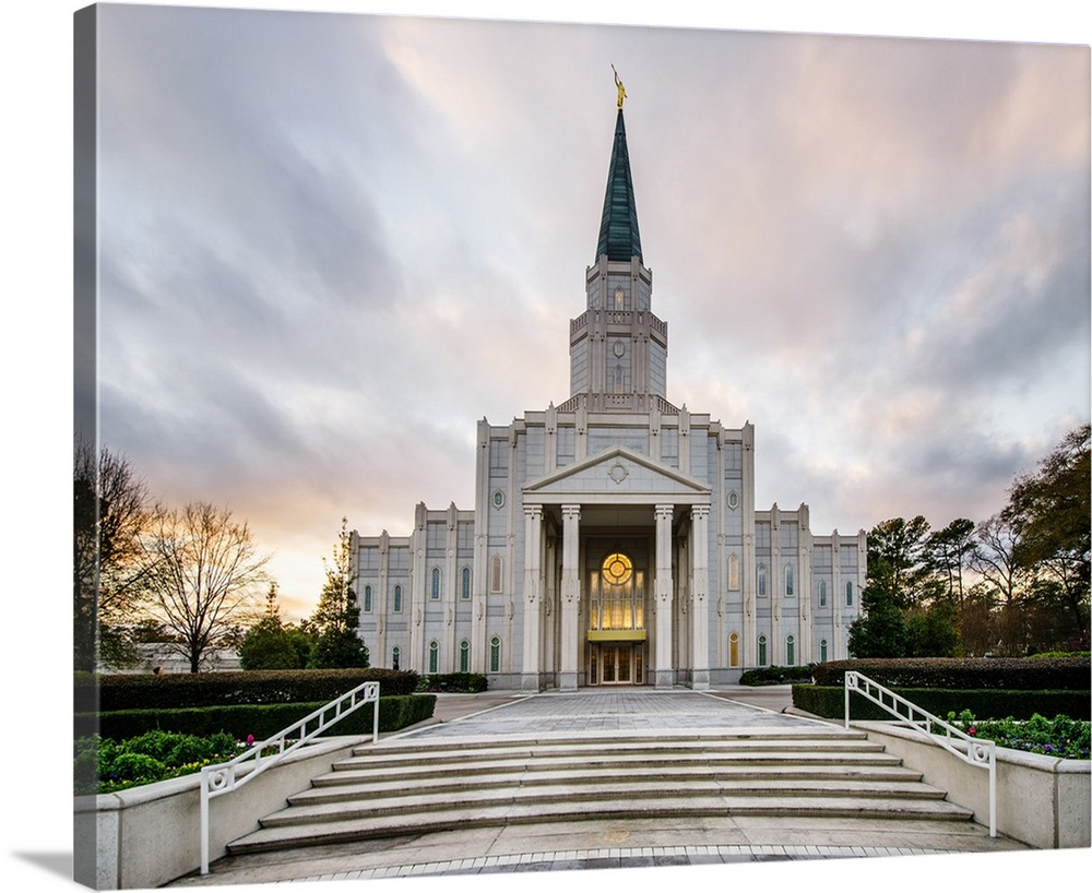 Large Solid-Faced Canvas Print Wall Art Print 30 x 24 entitled Houston Texas Temple, Stairs, Spring, Texas Solid-Faced Canvas Print entitled Houston Texas Temple, Stairs, Spring, Texas.  The Houston Dallas Temple is the 97th operating temple and  encompasses nearly 34,000 square feet. The temple site was formerly owned by Don Hand, who attended the groundbreaking ceremony and helped the ideal architect to design the temple.  Multiple sizes available.  Primary colors within this image include Brown, Silver, Dark Forest Green.  Made in USA.  All products come with a 365 day workmanship guarantee.  Archival-quality UV-resistant inks.  Archival inks prevent fading and preserve as much fine detail as possible with no over-saturation or color shifting.  Canvas is handcrafted and made-to-order in the United States using high quality artist-grade canvas.