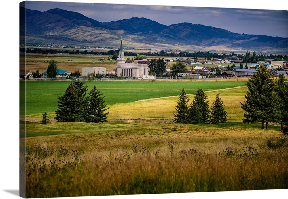Solid-Faced Canvas Print Wall Art entitled Star Valley Wyoming Temple, Down in