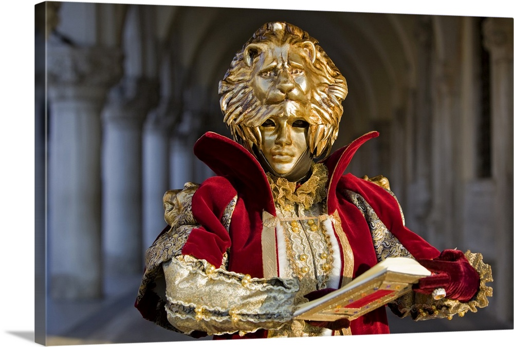 Large Solid-Faced Canvas Print Wall Art Print 30 x 20 entitled Masquerade time during Carnival, Venice, Italy Solid-Faced Canvas Print entitled Masquerade time during Carnival, Venice, Italy.  Multiple sizes available.  Primary colors within this image include Dark Red, Peach, Black, White.  Made in the USA.  All products come with a 365 day workmanship guarantee.  Inks used are latex-based and designed to last.  Featuring a proprietary design, our canvases produce the tightest corners without any bubbles, ripples, or bumps and will not warp or sag over time.  Canvas is handcrafted and made-to-order in the United States using high quality artist-grade canvas.