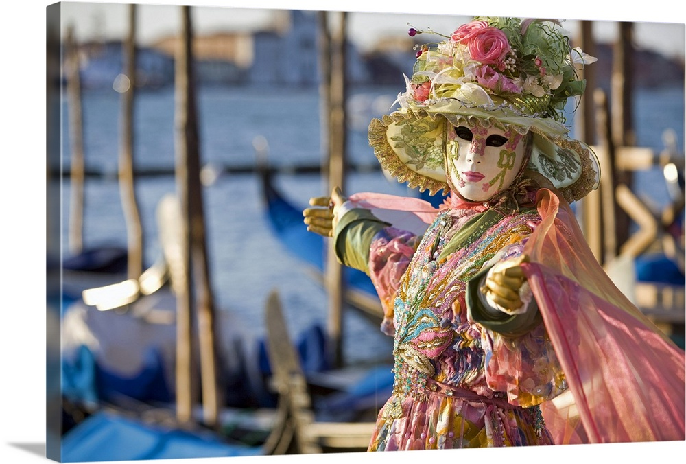 Large Solid-Faced Canvas Print Wall Art Print 30 x 20 entitled Masquerade time during Carnival, Venice, Italy Solid-Faced Canvas Print entitled Masquerade time during Carnival, Venice, Italy.  Multiple sizes available.  Primary colors within this image include Brown, Black, White, Gray Blue.  Made in USA.  Satisfaction guaranteed.  Archival-quality UV-resistant inks.  Canvas depth is 1.25 and includes a finished backing with pre-installed hanging hardware.  Canvas is handcrafted and made-to-order in the United States using high quality artist-grade canvas.