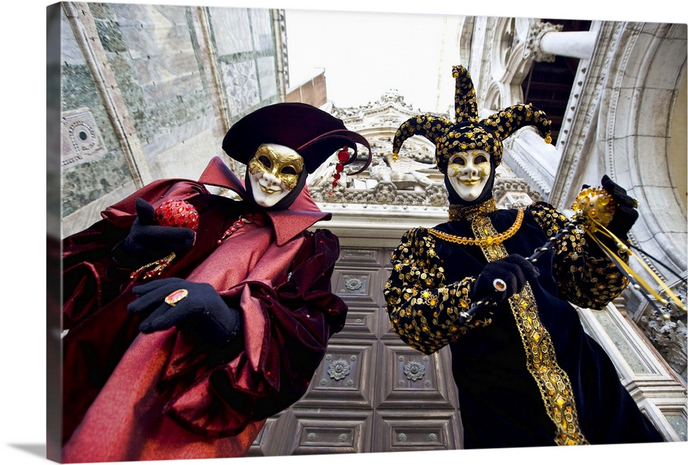Large Solid-Faced Canvas Print Wall Art Print 30 x 20 entitled Masquerade time during Carnival, Venice, Italy Solid-Faced Canvas Print entitled Masquerade time during Carnival, Venice, Italy.  Multiple sizes available.  Primary colors within this image include Brown, Light Yellow, Black, White.  Made in USA.  All products come with a 365 day workmanship guarantee.  Inks used are latex-based and designed to last.  Archival inks prevent fading and preserve as much fine detail as possible with no over-saturation or color shifting.  Canvas is handcrafted and made-to-order in the United States using high quality artist-grade canvas.