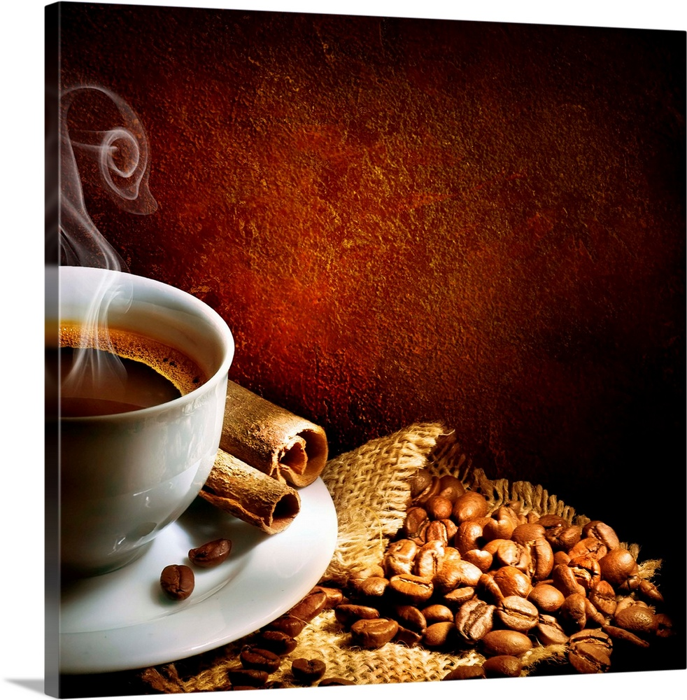 Large Solid-Faced Canvas Print Wall Art Print 20 x 20 entitled Coffee in a white cup sitting atop a burlap cloth with coff... Solid-Faced Canvas Print entitled Coffee in a white cup sitting atop a burlap cloth with coffee beans..  Coffee in a white cup sitting atop a burlap and coffee beans.  Multiple sizes available.  Primary colors within this image include Orange, Dark Red, Black.  Made in the USA.  All products come with a 365 day workmanship guarantee.  Archival-quality UV-resistant inks.  Canvas is handcrafted and made-to-order in the United States using high quality artist-grade canvas.  Archival inks prevent fading and preserve as much fine detail as possible with no over-saturation or color shifting.