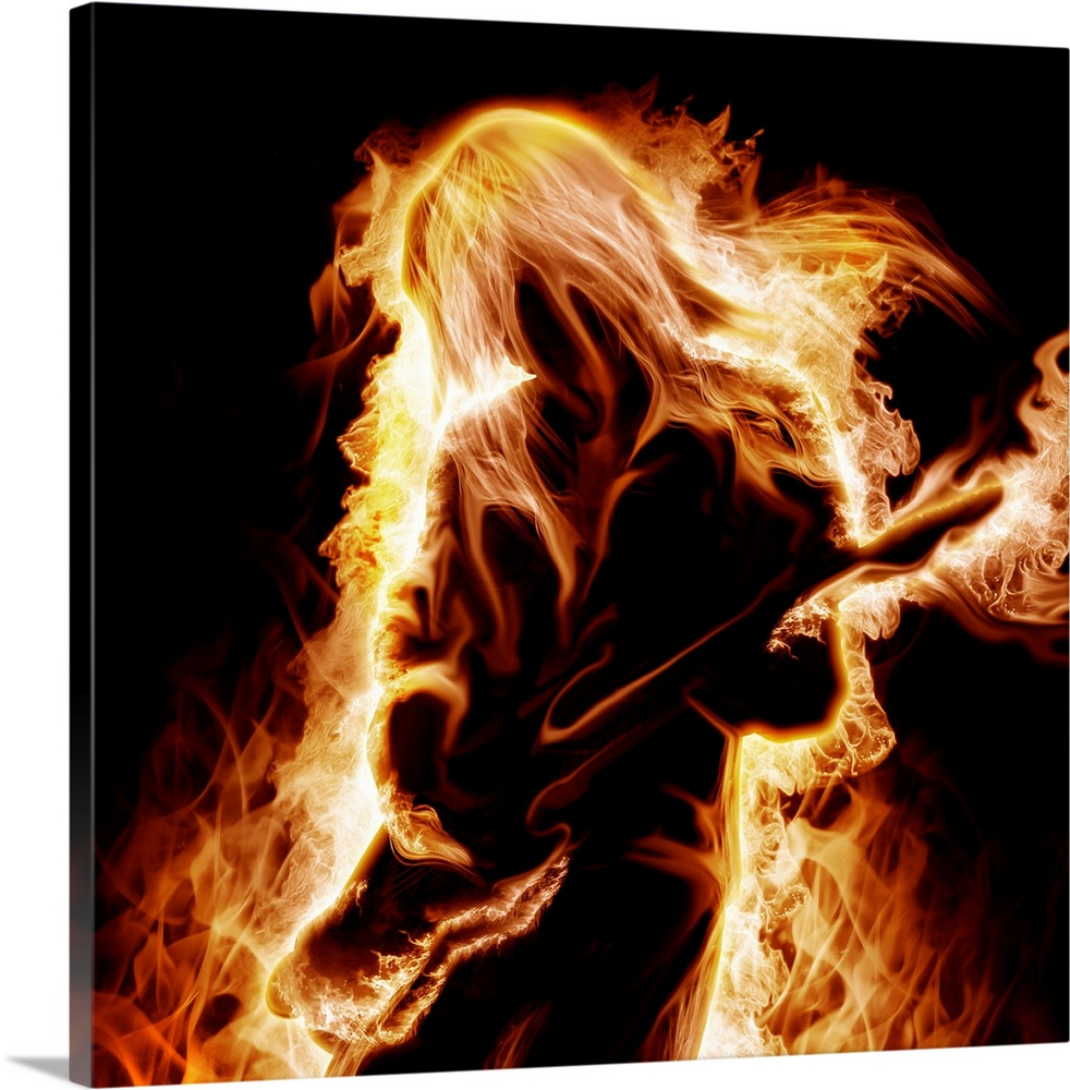 Large Solid-Faced Canvas Print Wall Art Print 20 x 20 entitled Musician with an electronic guitar enveloped in flames Solid-Faced Canvas Print entitled Musician with an electronic guitar enveloped in flames.  Musician with an electronic guitar enveloped in flames on a black background.  Multiple sizes available.  Primary colors within this image include Orange, Dark Red, Peach, Black.  Made in USA.  All products come with a 365 day workmanship guarantee.  Archival-quality UV-resistant inks.  Featuring a proprietary design, our canvases produce the tightest corners without any bubbles, ripples, or bumps and will not warp or sag over time.  Canvas depth is 1.25 and includes a finished backing with pre-installed hanging hardware.